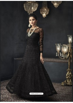 Black Designer Party Wear Net Gown for Girls
