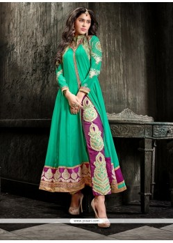 Fab Sea Green Georgette Pant Style Suit