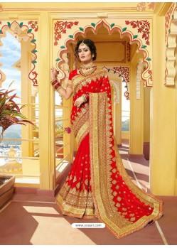 Red Designer Bridal Wear Wedding Sari
