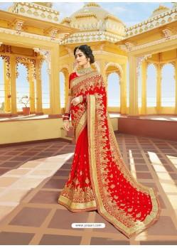 Sizzling Red Designer Bridal Wear Wedding Sari