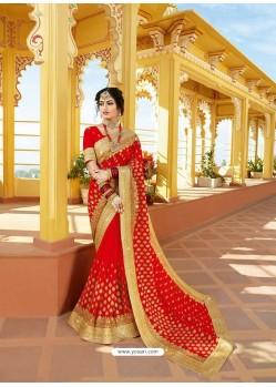 Elegant Red Designer Bridal Wear Wedding Sari