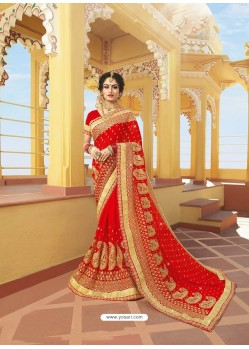 Sizzling Red Designer Bridal Wear Wedding Sari