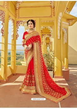 Stunning Red Designer Bridal Wear Wedding Sari
