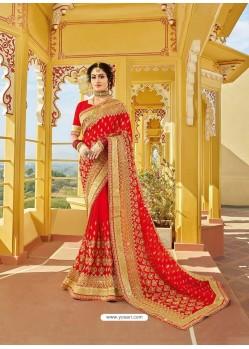 Stunning Red Designer Bridal Wear Wedding Sari
