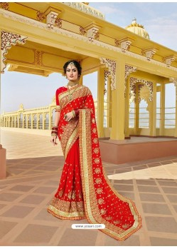 Elegant Red Designer Bridal Wear Wedding Sari