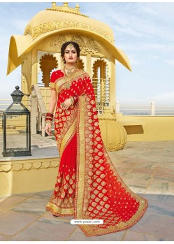 Red Designer Bridal Wear Wedding Sari