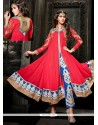 Pretty Red Georgette Pant Style Suit