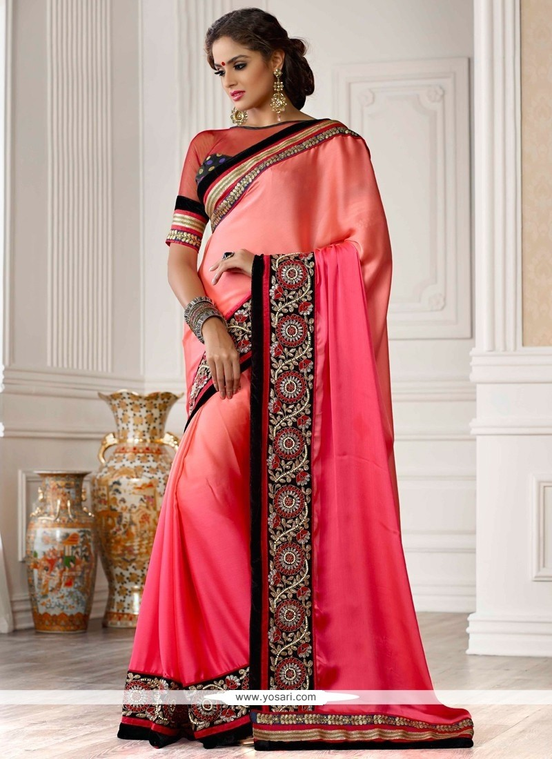 Magenta And Pink Shaded Resham Party Wear Saree