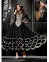 Pleasing Black Georgette Anarkali Suit