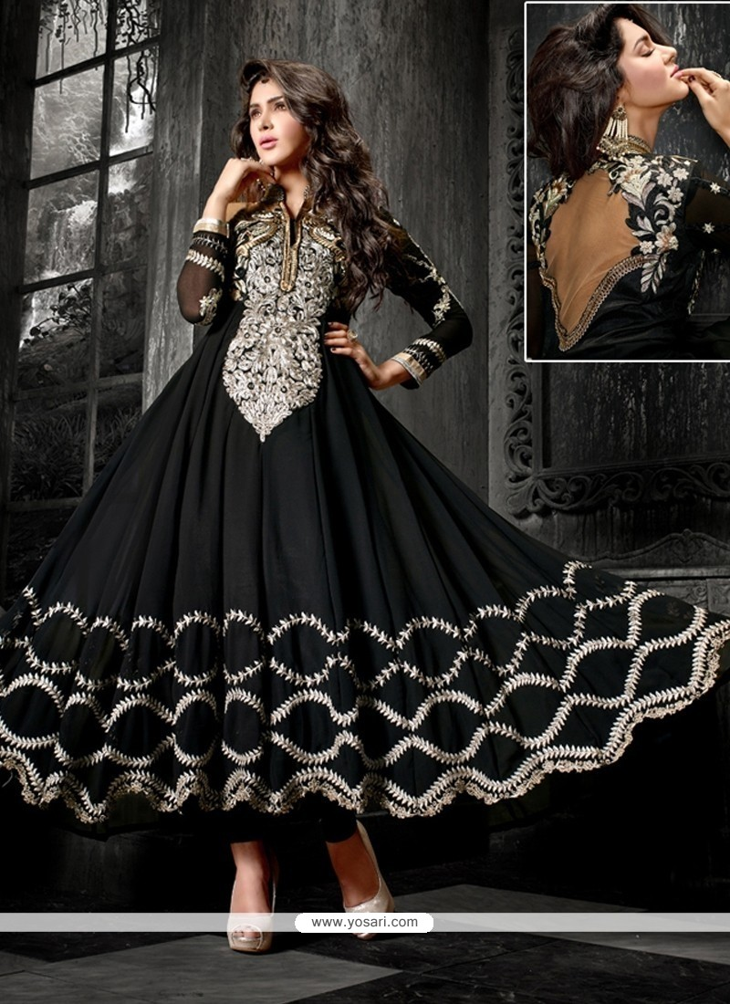 Pleasing Black Georgette Anarkali Suit