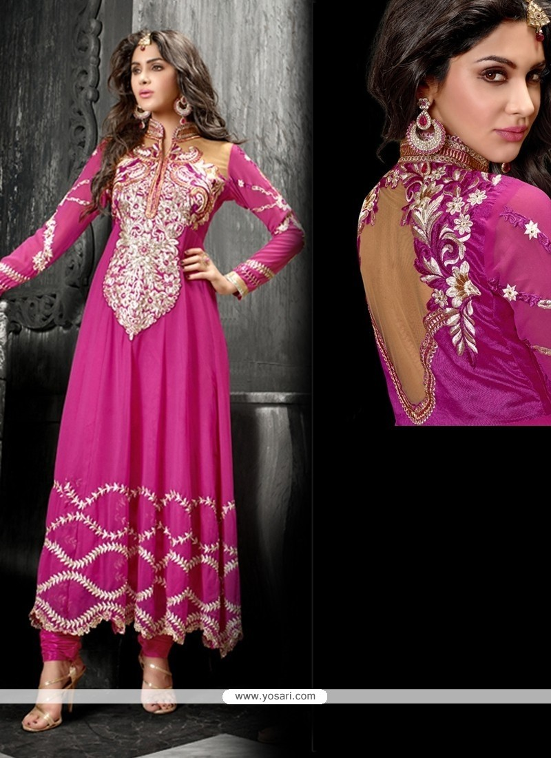 Ombre Hot Pink Georgette Anarkali Suit