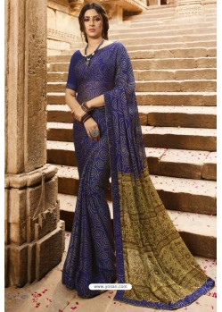 Navy Blue Designer Casual Wear Silk Georgette Sari