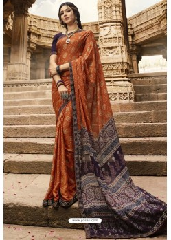 Rust Designer Casual Wear Silk Georgette Sari