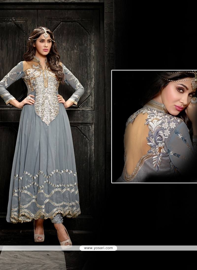 Pretty Grey Georgette Anarkali Suit