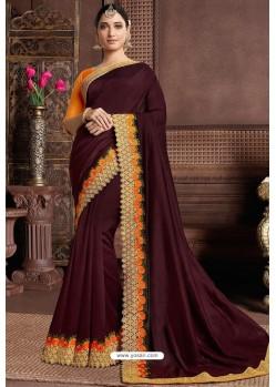 Deep Scarlet Designer Party Wear Silk Sari