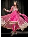 Pleasing Pink Soft Net Pant Style Suit