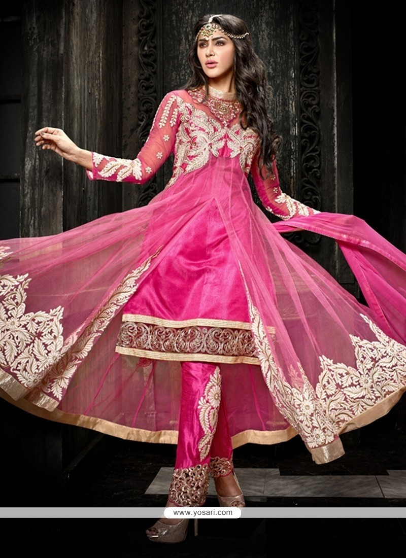 Pleasing Pink Soft Net Pant Style Suit