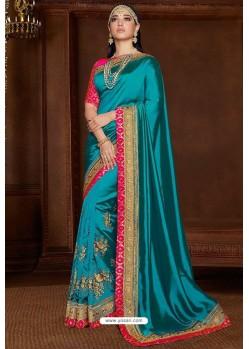 Turquoise Designer Party Wear Silk Sari
