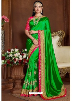 Parrot Green Designer Party Wear Silk Sari