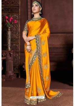 Yellow Designer Party Wear Silk Sari