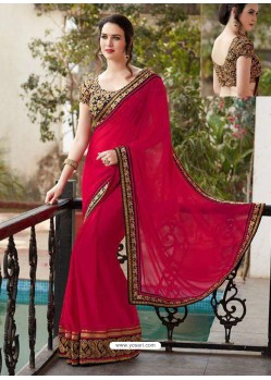 Red Designer Georgette Party Wear Sari