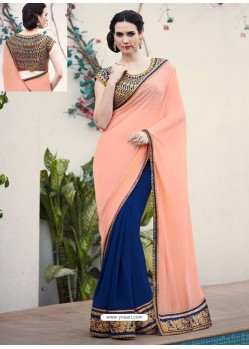 Royal Blue Designer Georgette Party Wear Sari