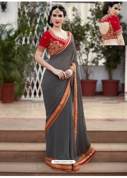 Grey Designer Georgette Party Wear Sari