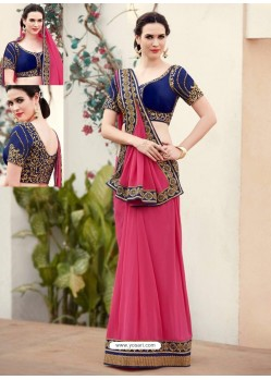 Hot Pink Designer Georgette Party Wear Sari