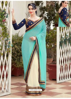 Sky Blue Designer Georgette Party Wear Sari