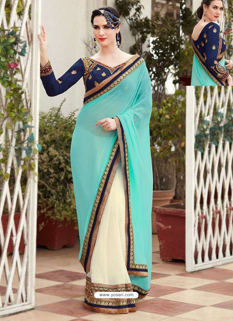 Sky Blue Designer Georgette Party Wear Sari