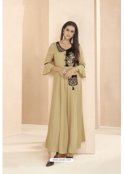 Gold Designer Party Wear Rayon Kurti