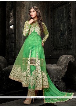 Embellished Green Soft Net Pant Style Suit