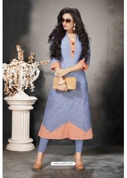 Blue Designer Party Wear Heavy Khadi Cotton Kurti