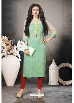 Sea Green Designer Party Wear Heavy Khadi Cotton Kurti