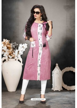 Light Pink Designer Party Wear Heavy Khadi Cotton Kurti