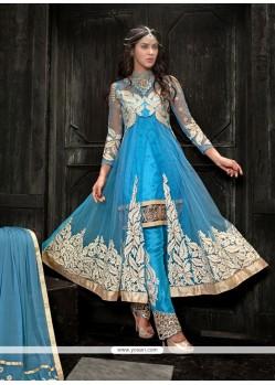 Sky Blue Soft Net Pant Style Salwar Suit