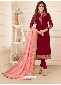 Maroon Embroidered Designer Churidar Salwar Suit