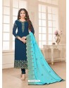 Peacock Blue Embroidered Designer Churidar Salwar Suit