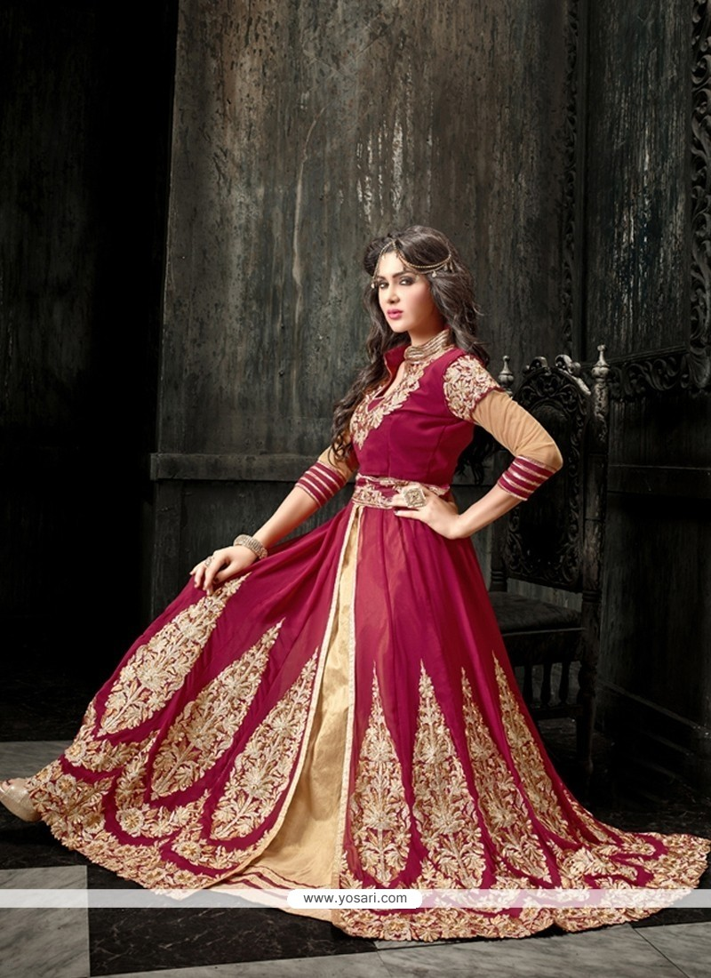 Magenta And Beige Georgette Anarkali Suit