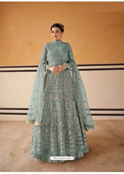 Aqua Grey Latest Embroidered Designer Anarkali Suit