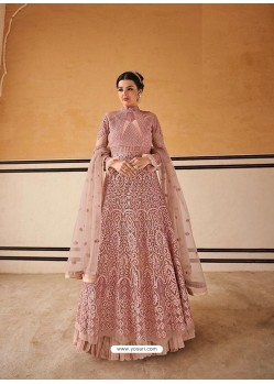 Old Rose Latest Embroidered Designer Anarkali Suit