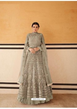 Grayish Green Latest Embroidered Designer Anarkali Suit