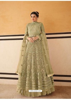 Olive Green Latest Embroidered Designer Anarkali Suit