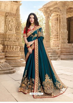 Teal Blue Latest Embroidered Designer Wedding Sari