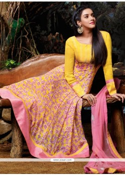 Asin Yellow Georgette Anarkali Salwar Suit