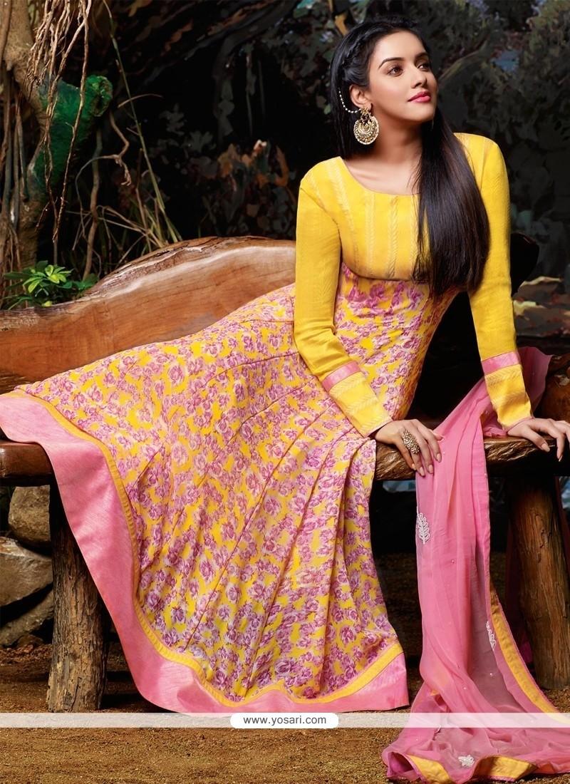 Asin Yellow Georgette Anarkali Salwar Suit