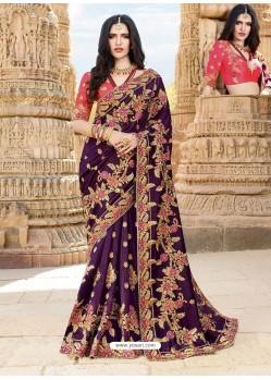 Purple Latest Embroidered Designer Wedding Sari