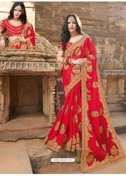 Red Latest Embroidered Designer Wedding Sari