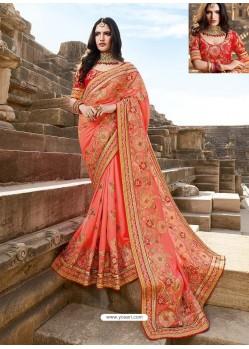 Peach Latest Embroidered Designer Wedding Sari