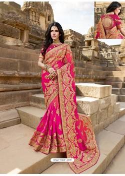 Rani Latest Embroidered Designer Wedding Sari